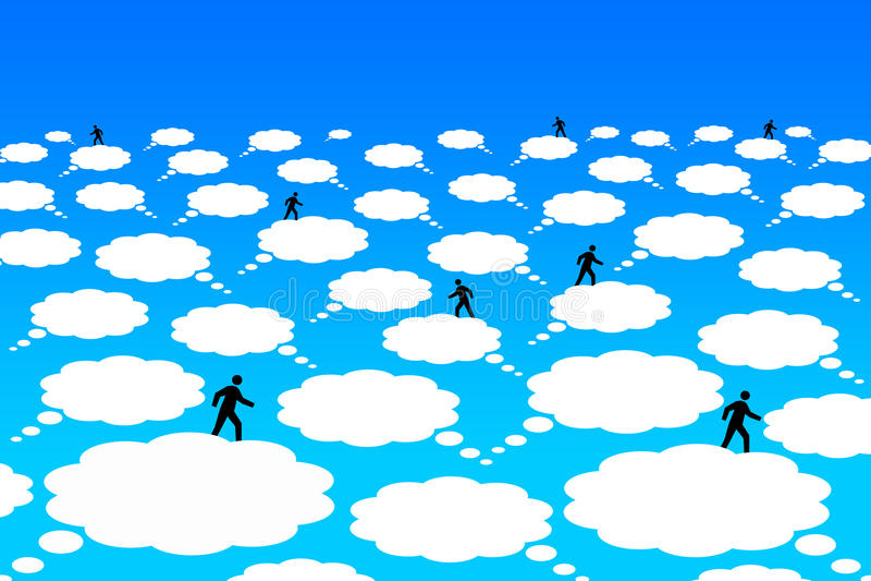 Comunicación de la nube stock de ilustración