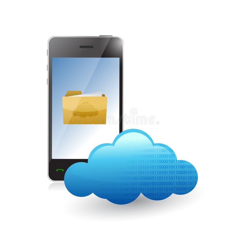 Comunicación de la nube del teléfono accesible a los ficheros. stock de ilustración