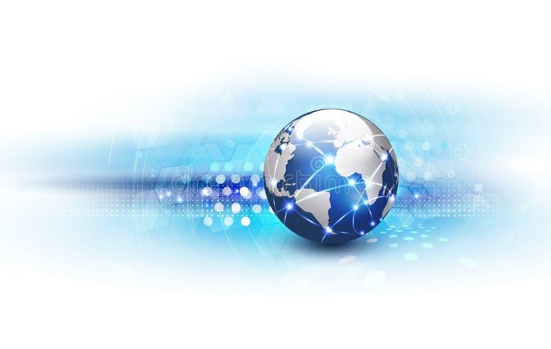 Comunicación de la red del mundo y fondo futuristas de la tecnología libre illustration
