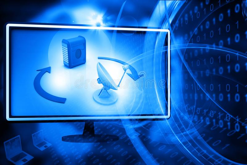 Comunicación de la red de ordenadores y de Internet ilustración del vector