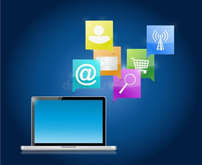 Comunicación de los medios del ordenador portátil y de Internet libre illustration