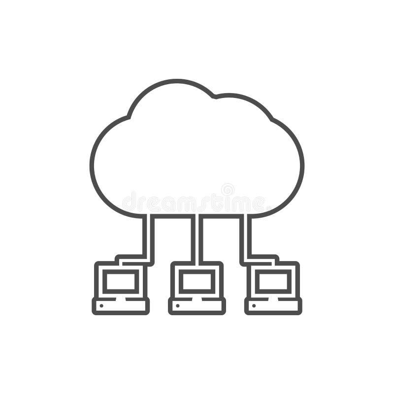 comunicación de ordenadores con el icono de la nube Elemento de la web para el concepto y el icono móviles de los apps de la web  stock de ilustración