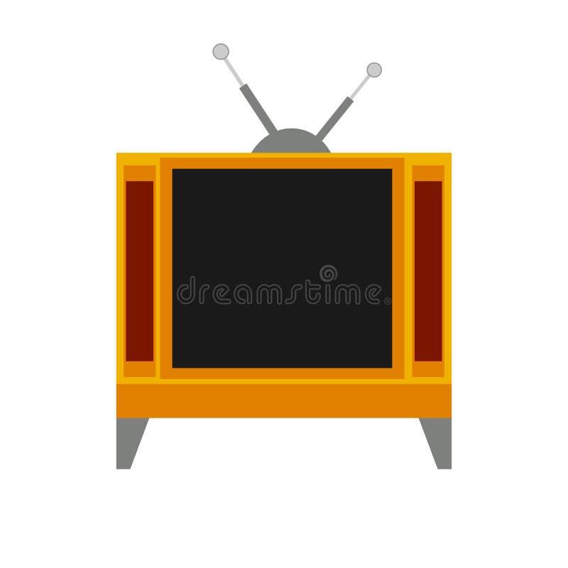 Comunicación del equipo electrónico de la televisión de la pantalla Icono plano de la TV con la antena ilustración del vector