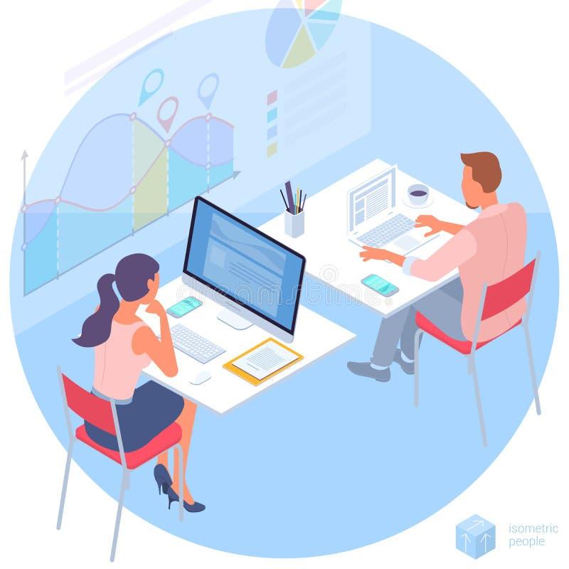 Comunicación del hombre joven y de la mujer en la oficina libre illustration