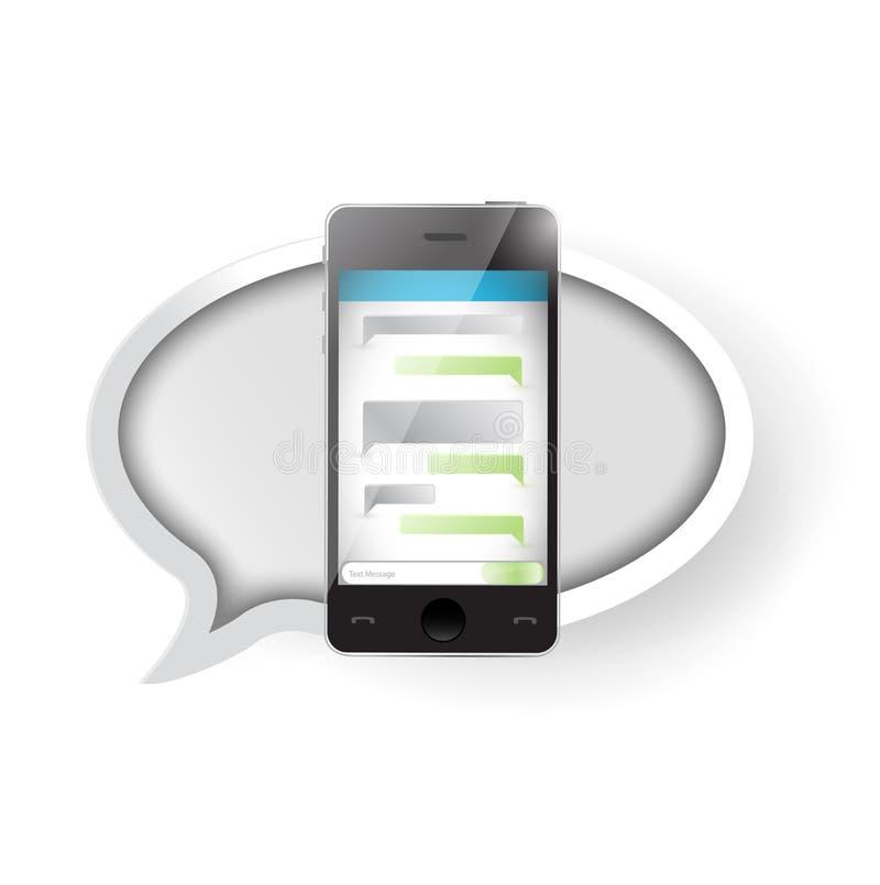 Comunicación del mensaje de texto sobre un smartphone. ilustración del vector