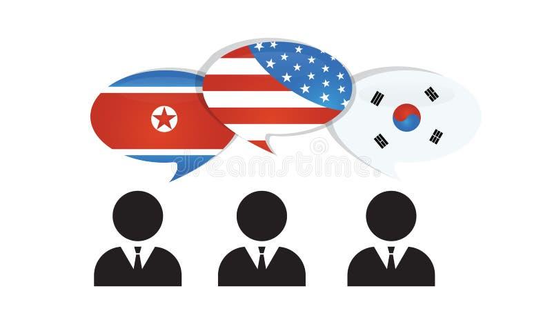 Comunicación del norte, Corea del Sur y los E.E.U.U. América Los E.E.U.U. América y banderas coreanas en discurso brillante burbu ilustración del vector