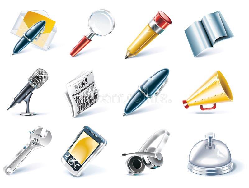 Comunicación del vector y conjunto del icono de los media stock de ilustración