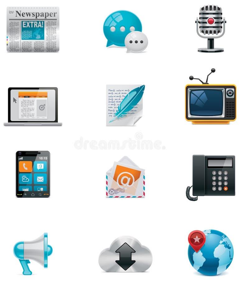 Comunicación del vector y conjunto social del icono de los media. PA libre illustration