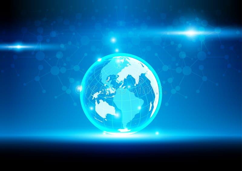 Comunicación digital de la malla del mundo y red de la tecnología stock de ilustración