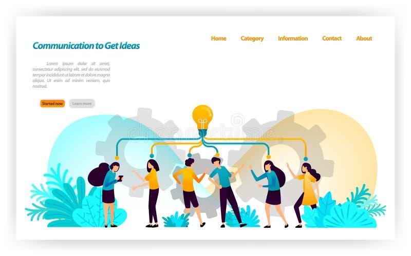 Comunicación, discusión, discurso y diálogo de conseguir ideas y la inspiración en conceptos y estrategias de manejo Illustra del libre illustration