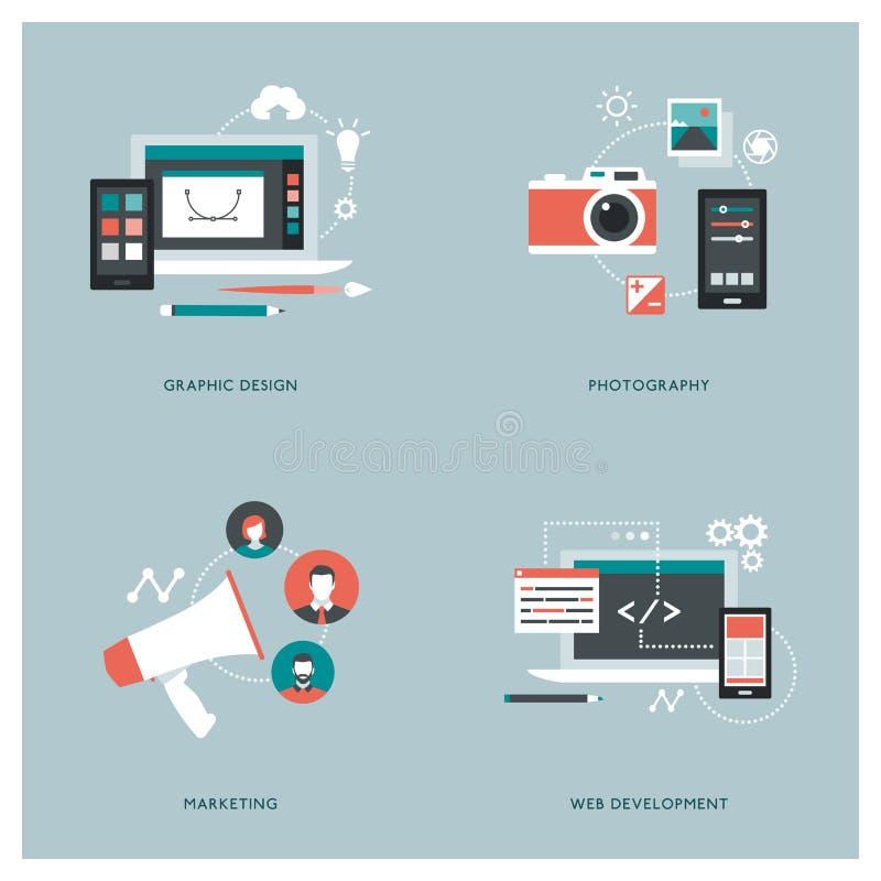 Comunicación, diseño y publicidad stock de ilustración