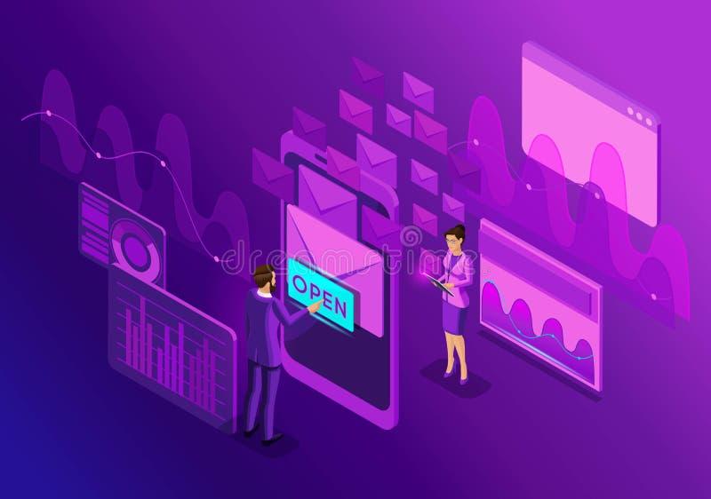 Comunicación electrónica de diseño del concepto del buzón de entrada isométrico del correo electrónico Márketing del email Ilustr libre illustration