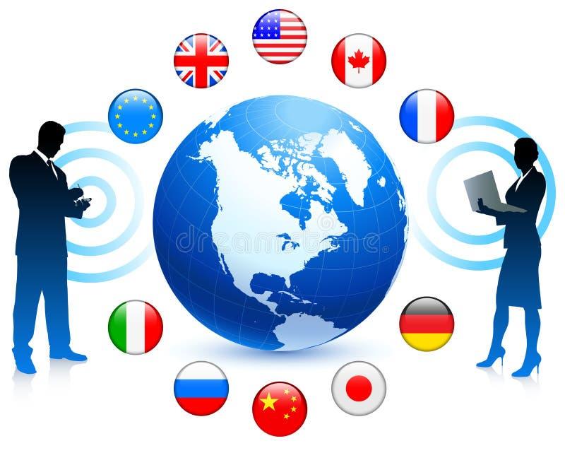 Comunicación empresarial con los botones de la bandera de Internet ilustración del vector