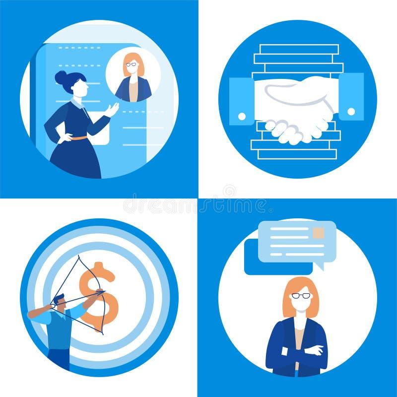 Comunicación empresarial - sistema de ejemplos planos del estilo del diseño libre illustration