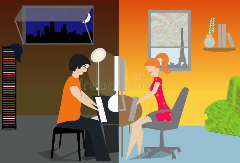 Comunicación en línea stock de ilustración