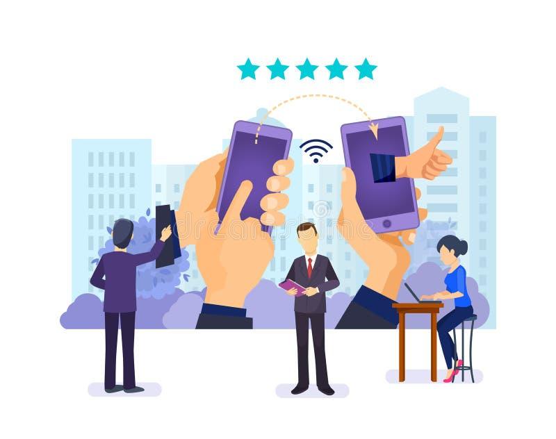 Comunicación en línea, establecimiento de una red social, blogueando Sistema de calificación, gustos, estudios, reacción stock de ilustración