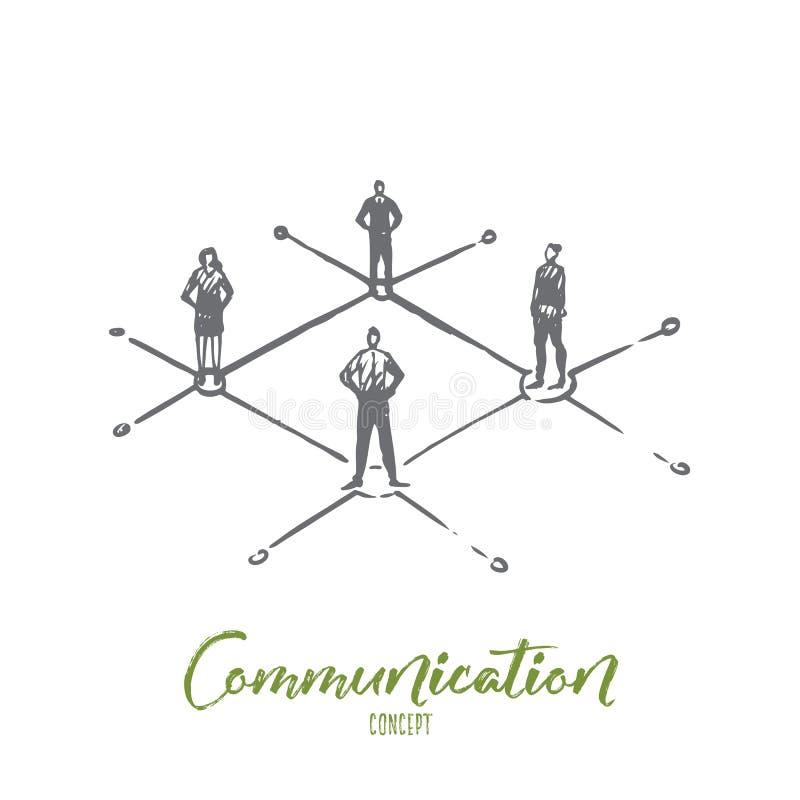 Comunicación, gente, negocio, grupo, concepto de la charla Vector aislado dibujado mano ilustración del vector