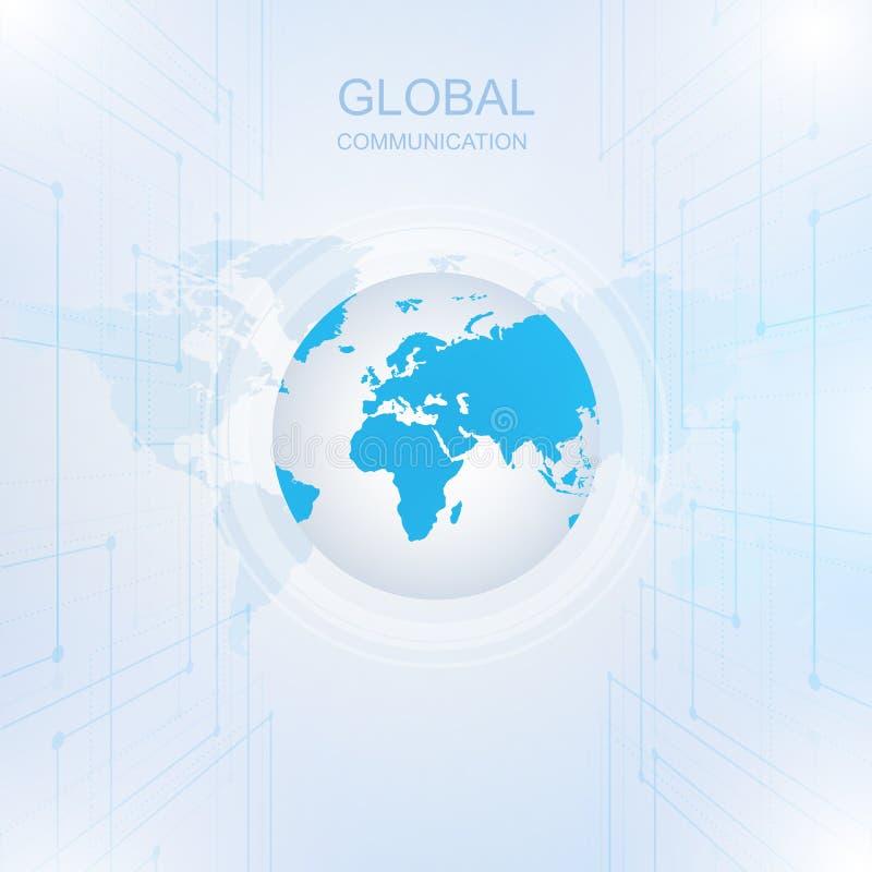 Comunicación global con la tecnología de Digitaces en todo el mundo ilustración del vector