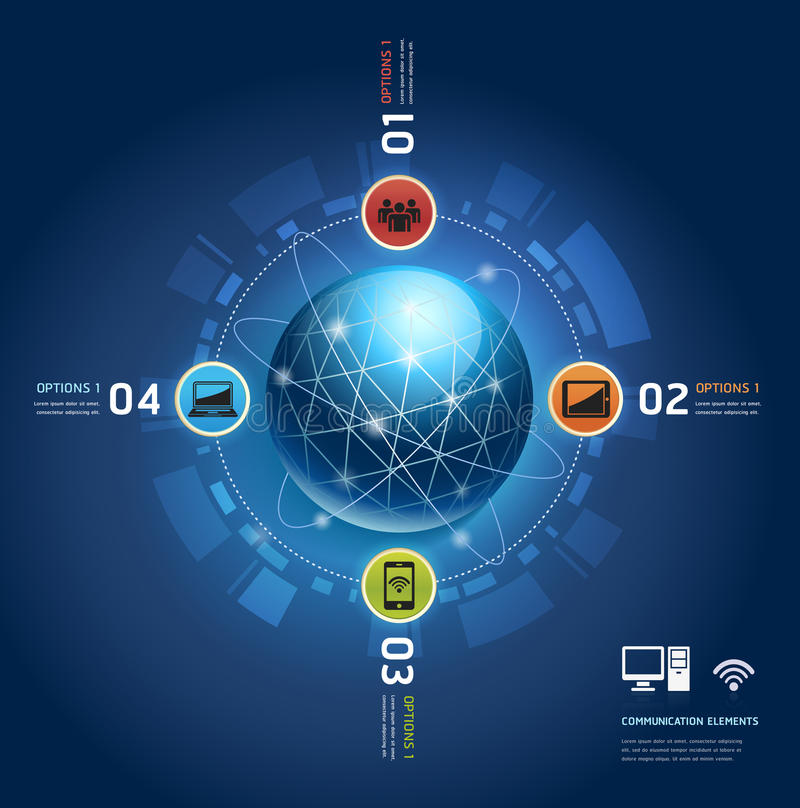 Comunicación global de Internet con órbitas. ilustración del vector