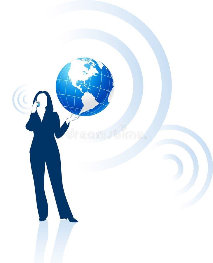 Comunicación global de la empresaria stock de ilustración