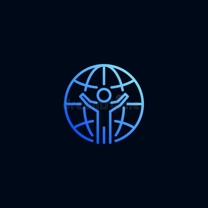 Comunicación global de la línea icono de la gente Ejemplo del vector en estilo linear stock de ilustración