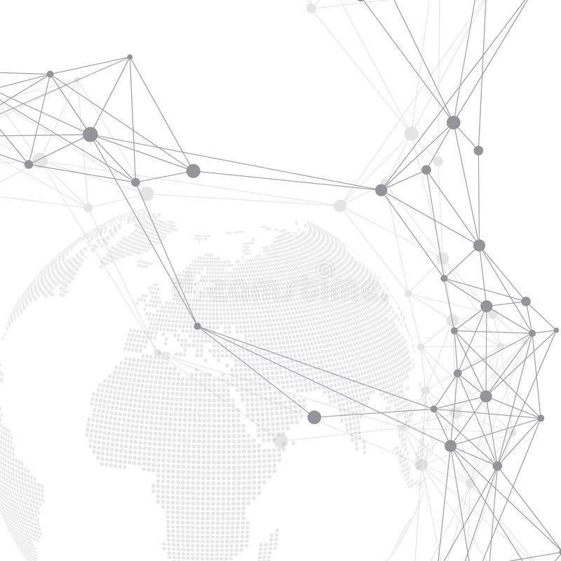 Comunicación gráfica geométrica del fondo Complejo grande de los datos con el planeta Compuestos de la partícula Conexión de red  ilustración del vector