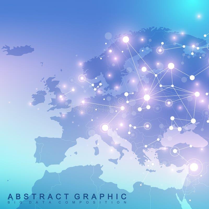 Comunicación gráfica geométrica del fondo con el mapa de Europa libre illustration