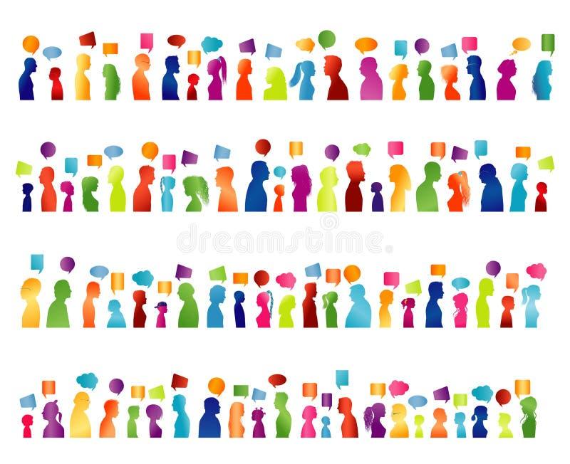 Comunicación grande aislada del grupo de hablar de la gente Comunique el establecimiento de una red social Silueta coloreada del  stock de ilustración