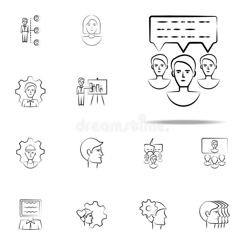 comunicación, icono exhausto de la mano del mensaje Sistema universal de los iconos del negocio para el web y el móvil stock de ilustración