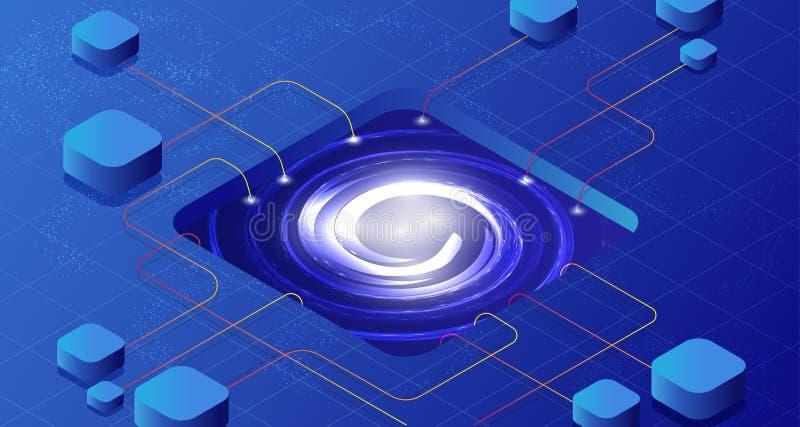 Comunicación isométrica de la conexión 3D de la red Ejemplo del vector de datos de negocio de Internet de la tecnología stock de ilustración