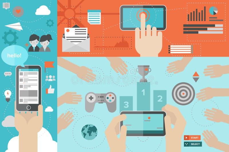 Comunicación móvil y ejemplo plano del juego libre illustration
