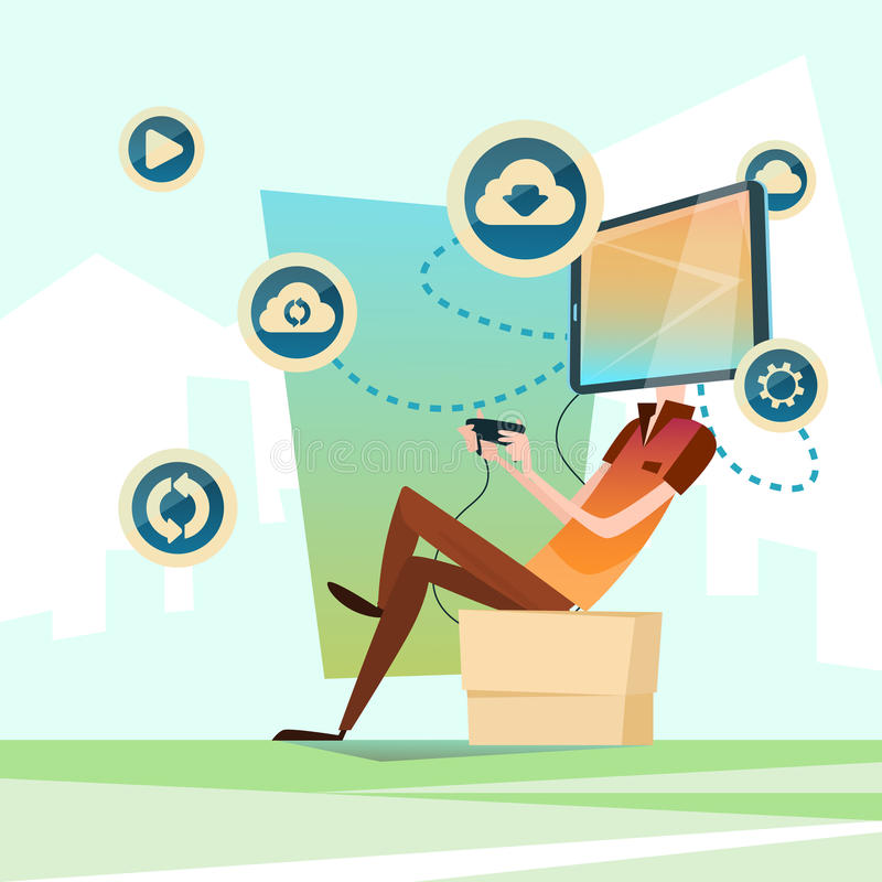 Comunicación social de la red de la cabeza elegante del teléfono de la célula del videojuego del ordenador del juego del hombre libre illustration