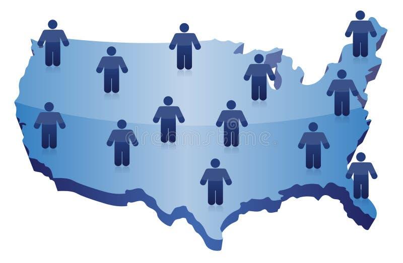 Comunicación social de la red de la gente sobre los E.E.U.U. ilustración del vector