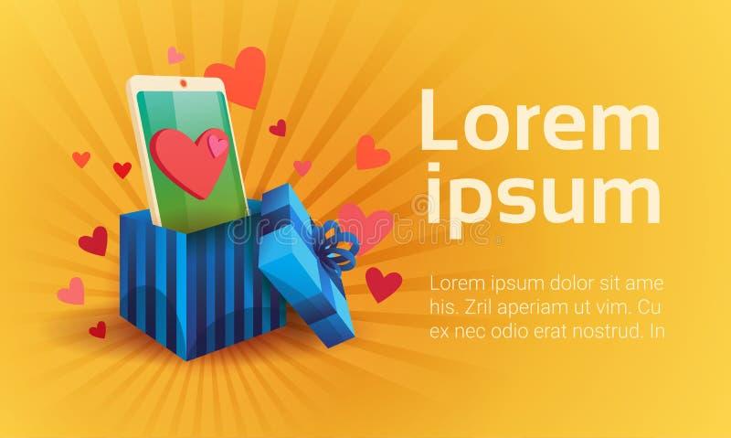Comunicación social de la red del teléfono elegante de la célula del amor de Valentine Day Gift Card Holiday ilustración del vector