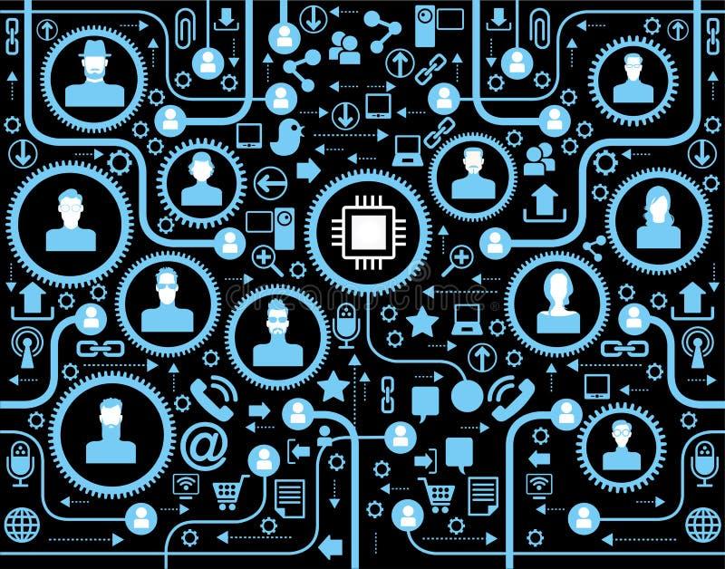 Comunicación social de la red en las redes de ordenadores globales libre illustration