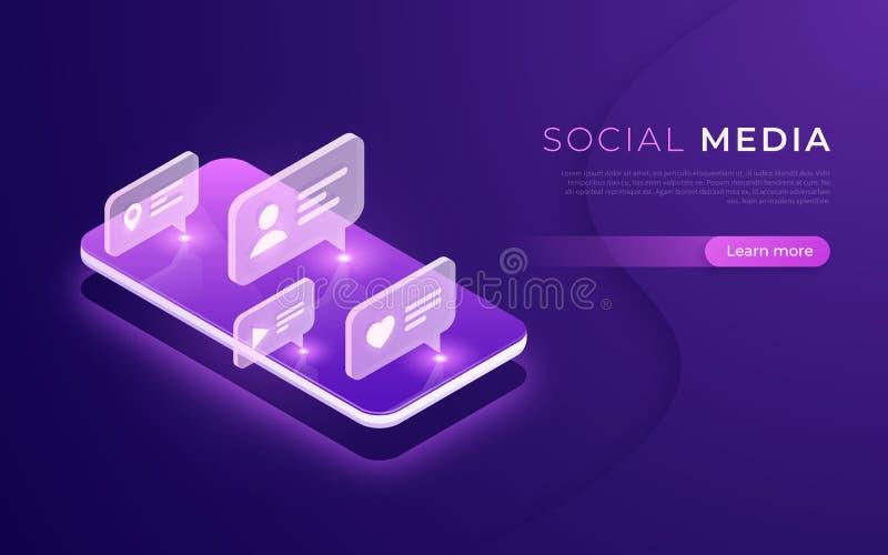 Comunicación social de los medios, establecimiento de una red, charlando, concepto isométrico de la mensajería stock de ilustración