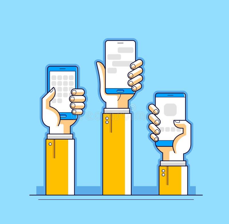 Comunicación y actividad, manos de Internet de la gente que sostienen los teléfonos y que usan los apps, red global, comunicación ilustración del vector