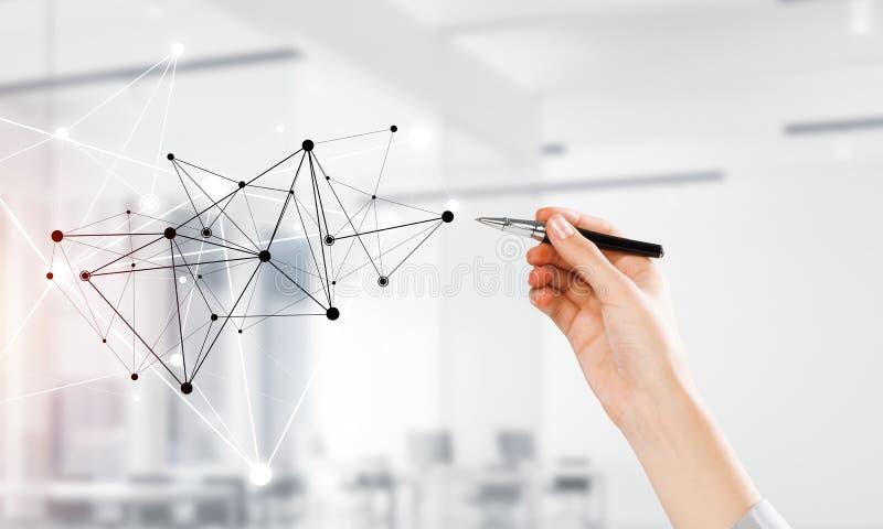 Comunicación y establecimiento de una red sociales como concepto para el comercio electrónico libre illustration