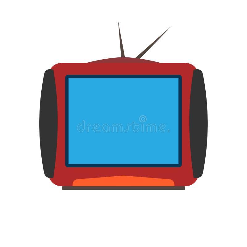 Comunicaci?n del equipo electr?nico de la televisi?n de la pantalla Icono plano de la TV con la antena ilustración del vector
