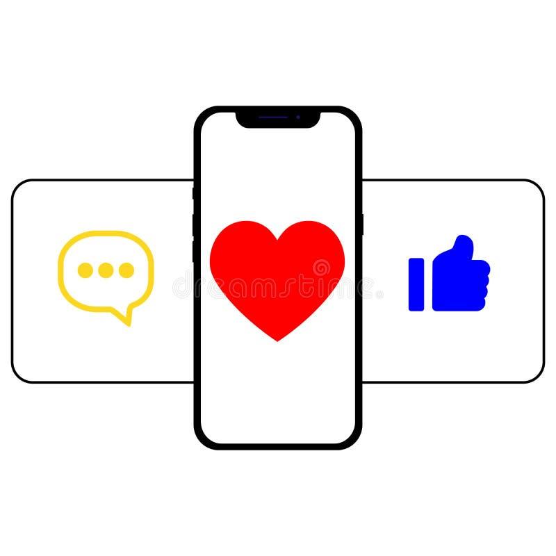 Comunicaci?n en redes sociales Imagen del teléfono móvil con los iconos, los gustos, y los suscriptores del mensaje Perfeccione p libre illustration