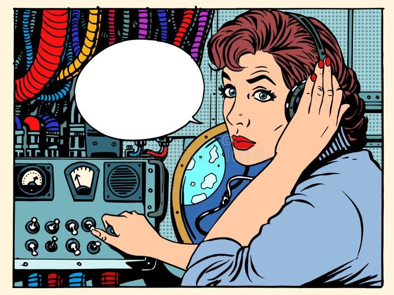 Comunicaciones de espacio de radio de la muchacha con los astronautas ilustración del vector