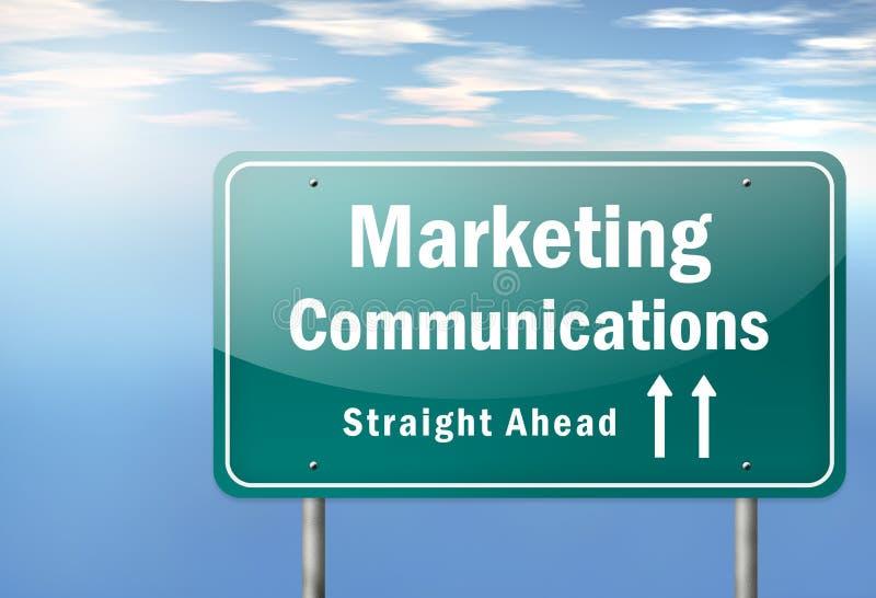 Comunicaciones de marketing del poste indicador de la carretera ilustración del vector