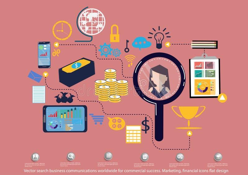 Comunicaciones empresariales de la búsqueda del vector por todo el mundo para el éxito comercial Comercializando, diseño plano de stock de ilustración