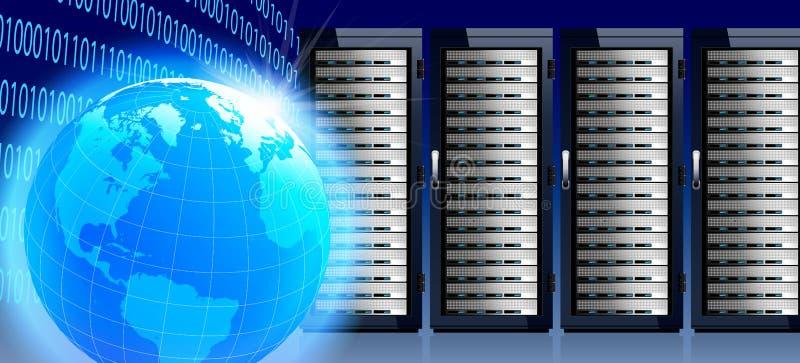 Comunicaciones en el mundo entero con el mundo y los servidores ilustración del vector