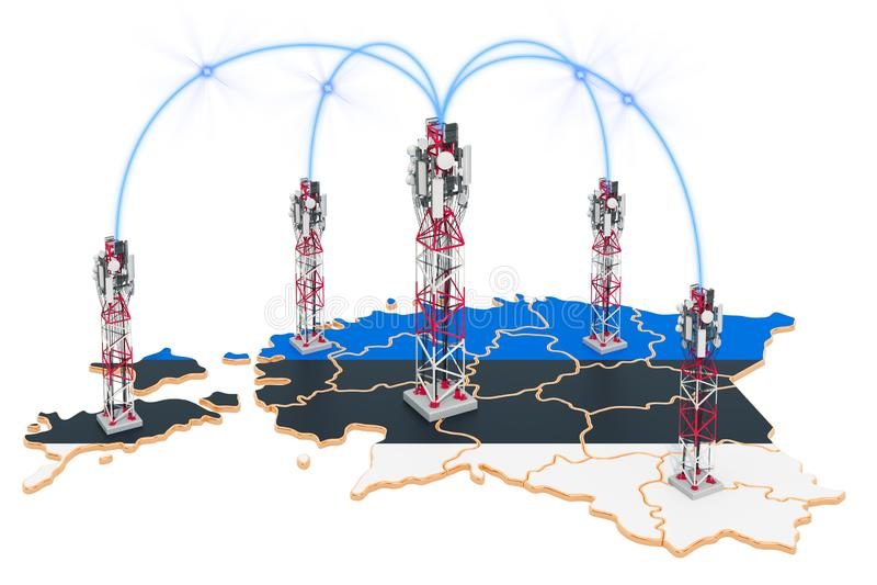 Comunicaciones móviles en Estonia, torres de la célula en el mapa representaci?n 3d libre illustration