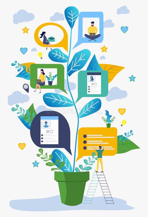 Comunicando-se através das redes sociais do Internet, o conceito de uma comunicação, exame de ideias do negócio ilustração royalty free