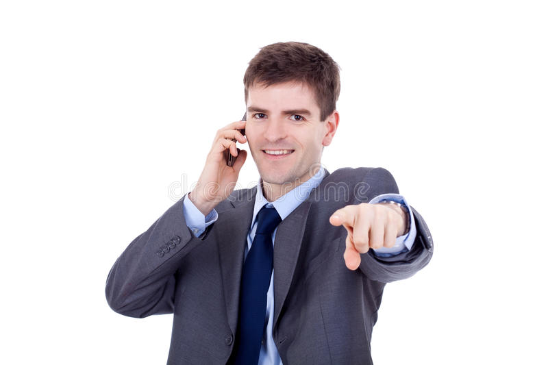 Comunicando sul telefono ed indicare immagini stock libere da diritti