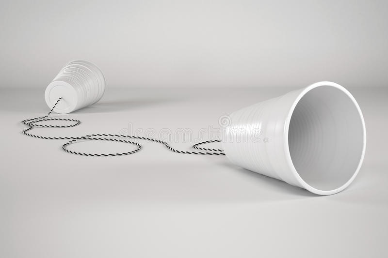 Comunication Plastic Glass with Cable stock illustration