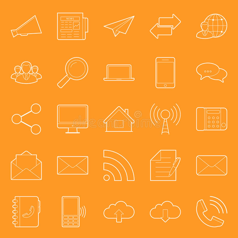 Comunication and web thin lines icons set vector illustration