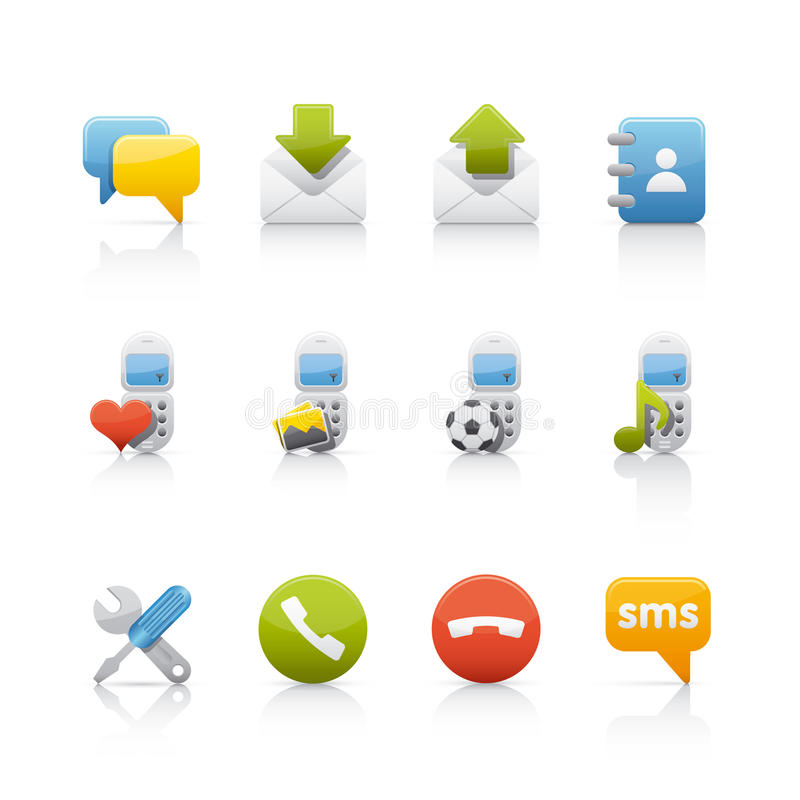 comunications ikony set royalty ilustracja